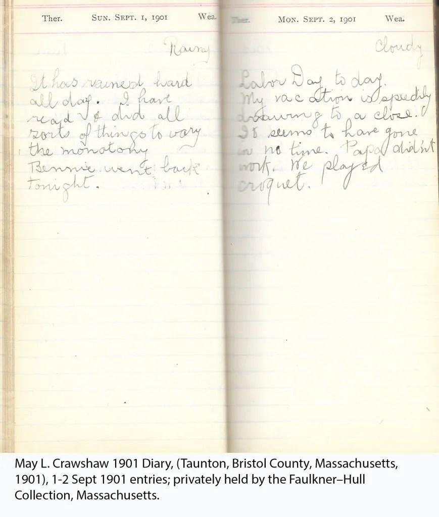 May L. Crawshaw 1901 Diary, Taunton, Bristol County, Massachusetts, 1-2 Sept 1901 entries