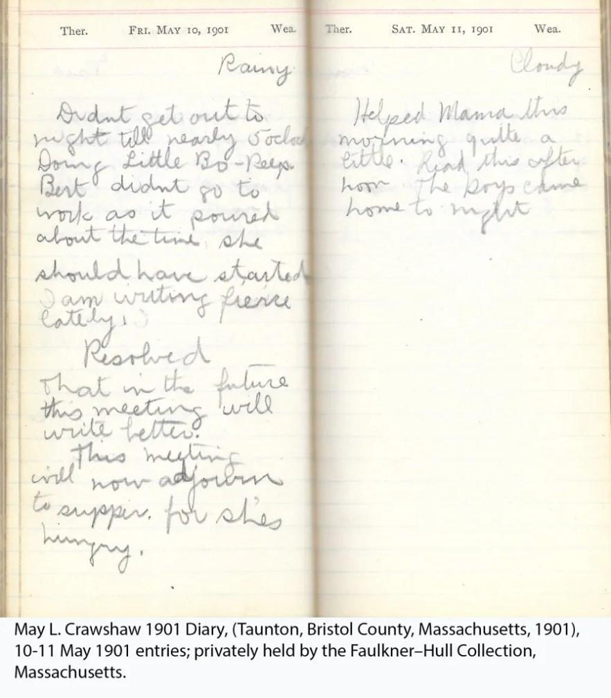 May L. Crawshaw 1901 Diary, Taunton, Bristol County, Massachusetts, 10-11 May 1901 entries