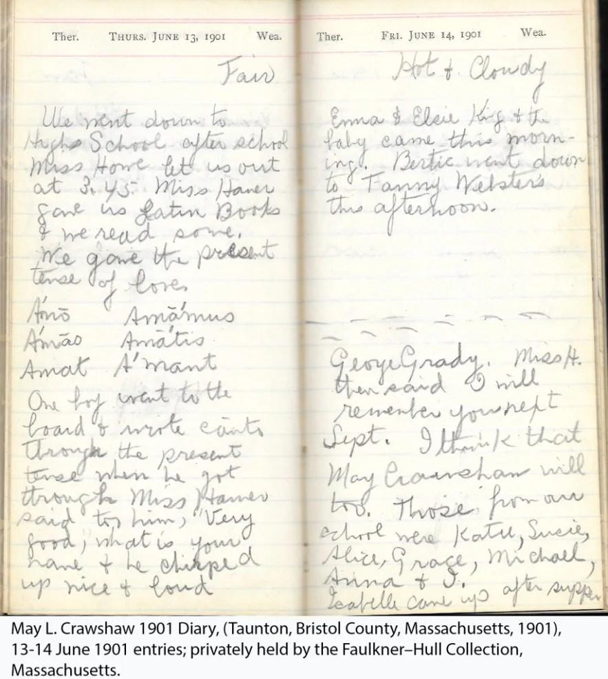May L. Crawshaw 1901 Diary, Taunton, Bristol County, Massachusetts, 13-14 June 1901 entries
