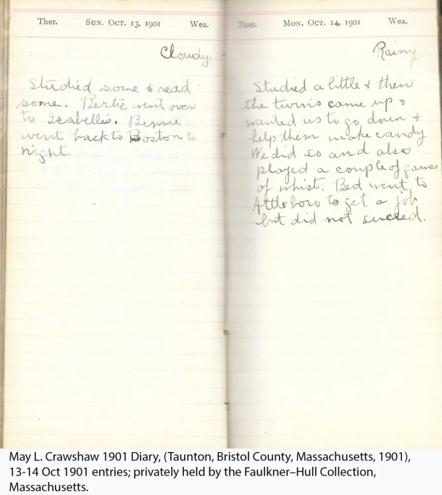 May L. Crawshaw 1901 Diary, Taunton, Bristol County, Massachusetts, 13-14 Oct 1901 entries