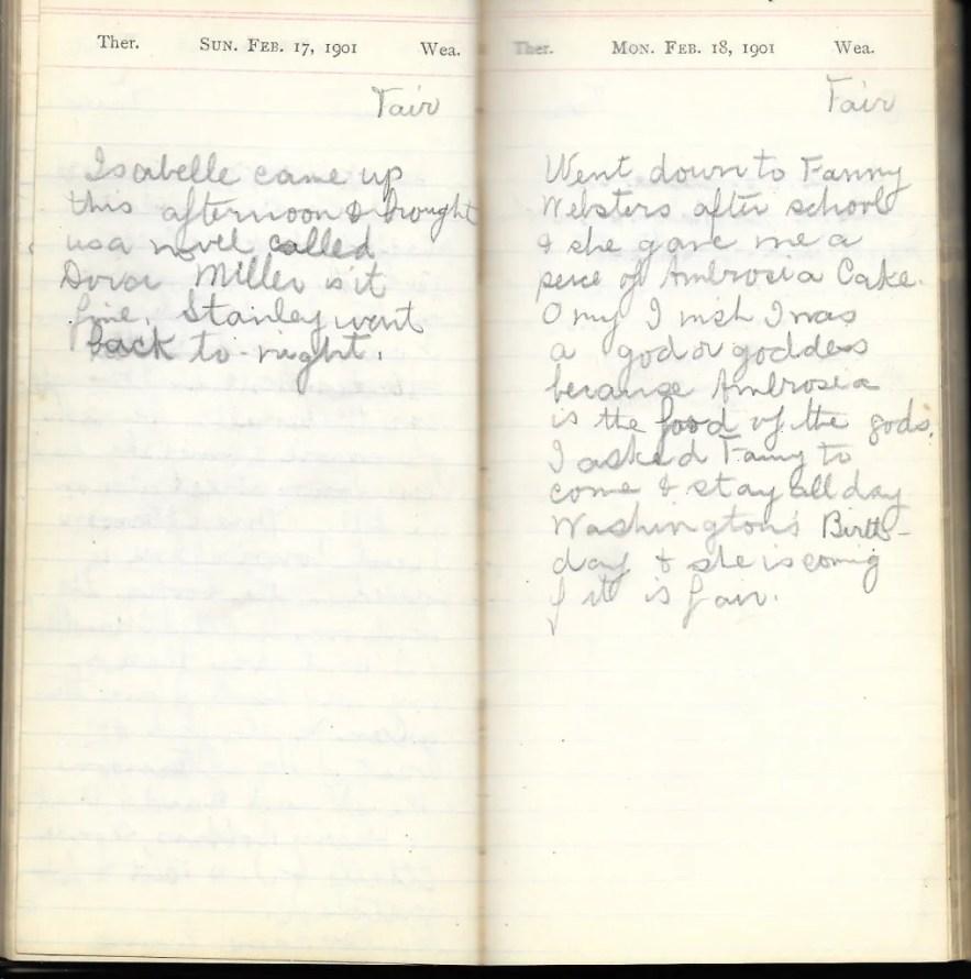 May L. Crawshaw 1901 Diary, Taunton, Bristol County, Massachusetts, 17-18 Feb 1901 entries