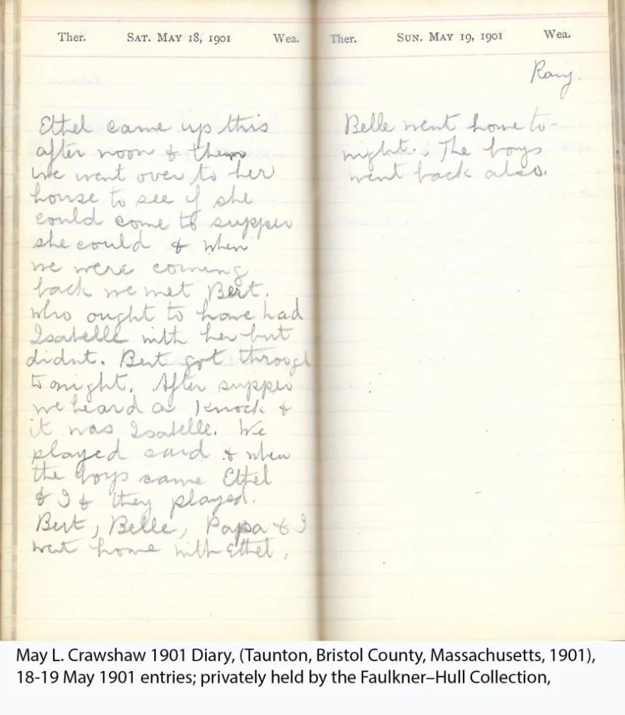 May L. Crawshaw 1901 Diary, Taunton, Bristol County, Massachusetts, 18-19 May 1901 entries
