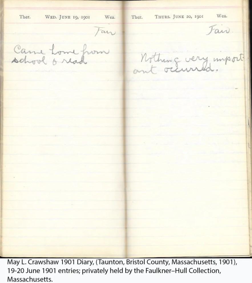 May L. Crawshaw 1901 Diary, Taunton, Bristol County, Massachusetts, 19-20 June 1901 entries