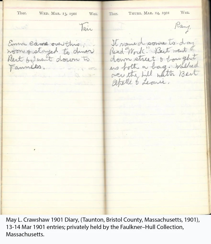 May L. Crawshaw 1901 Diary, Taunton, Bristol County, Massachusetts, 1901, 13-14 Mar 1901 entries