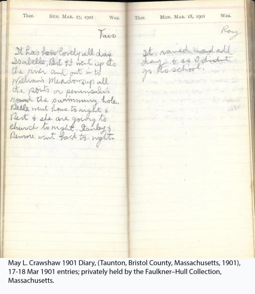 May L. Crawshaw 1901 Diary, Taunton, Bristol County, Massachusetts, 1901, 17-18 Mar 1901 entries