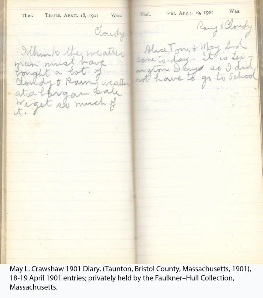 May L. Crawshaw 1901 Diary, Taunton, Bristol County, Massachusetts, 1901, 18-19 April 1901 entries