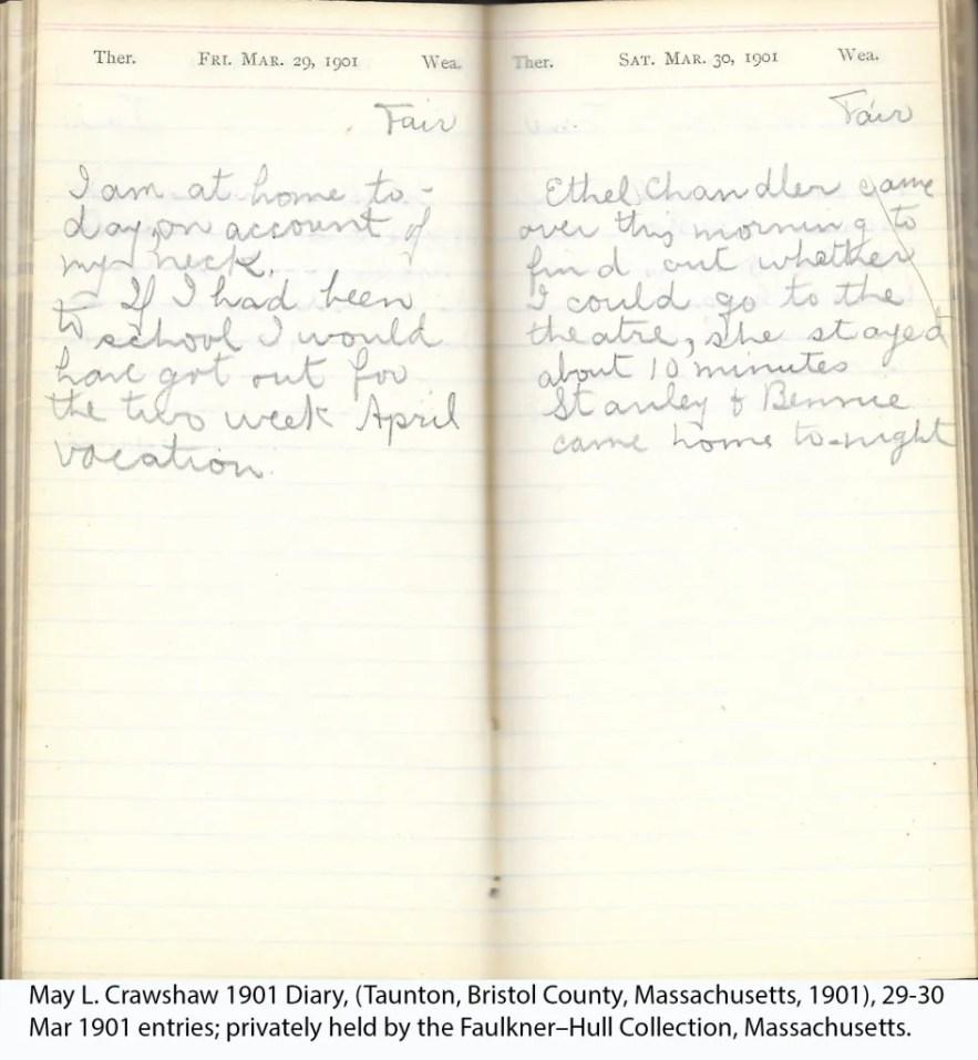May L. Crawshaw 1901 Diary, Taunton, Bristol County, Massachusetts, 1901, 29-30 Mar 1901 entries