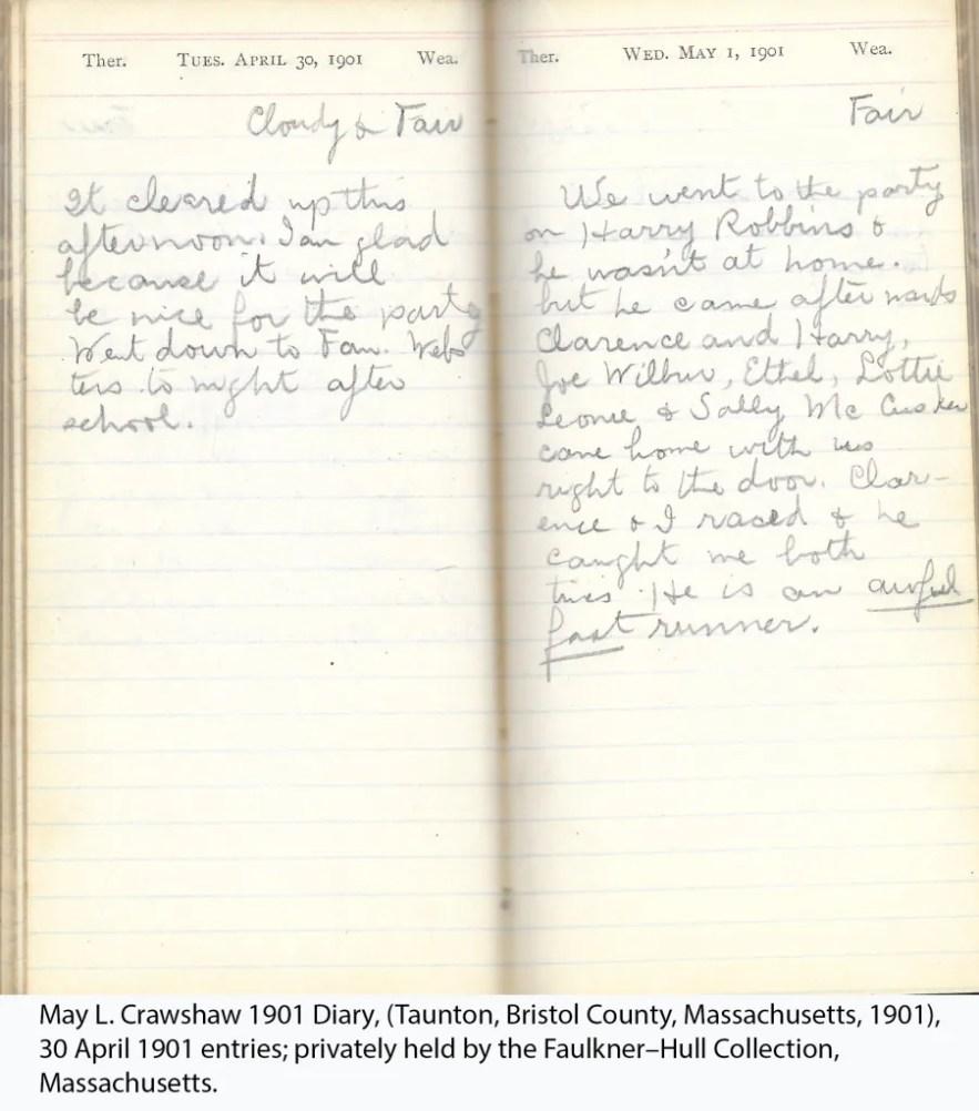 May L. Crawshaw 1901 Diary, Taunton, Bristol County, Massachusetts, 1901, 30 April 1901 entries