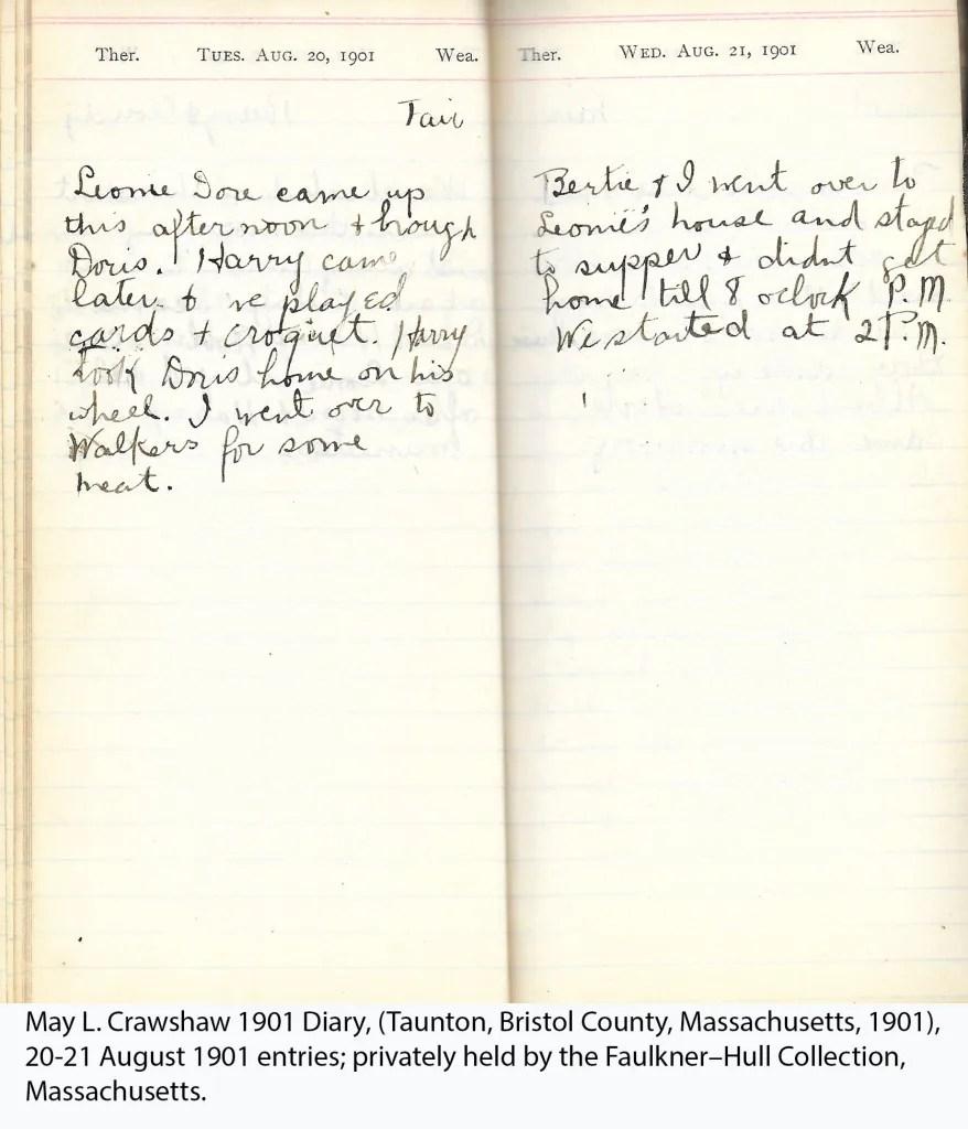 May L. Crawshaw 1901 Diary, Taunton, Bristol County, Massachusetts, 20-21 Aug 1901 entries