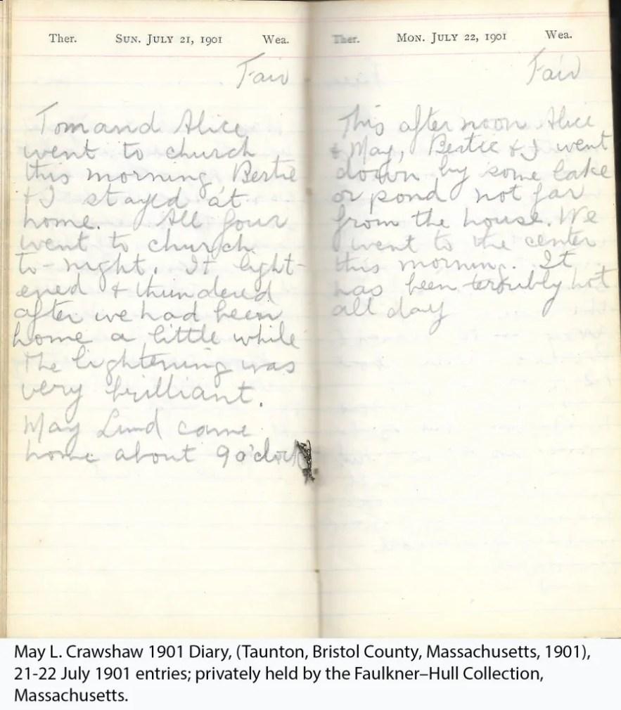 May L. Crawshaw 1901 Diary, Taunton, Bristol County, Massachusetts, 21-22 July 1901 entries