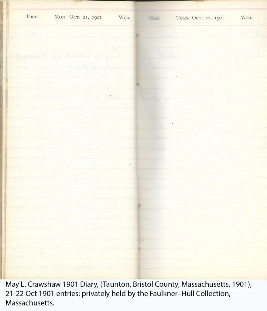 May L. Crawshaw 1901 Diary, Taunton, Bristol County, Massachusetts, 21-22 Oct 1901 entries
