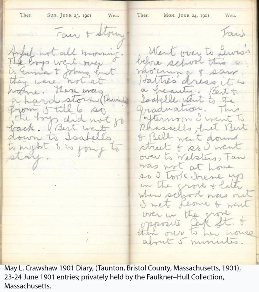 May L. Crawshaw 1901 Diary, Taunton, Bristol County, Massachusetts, 23-24 June 1901 entries