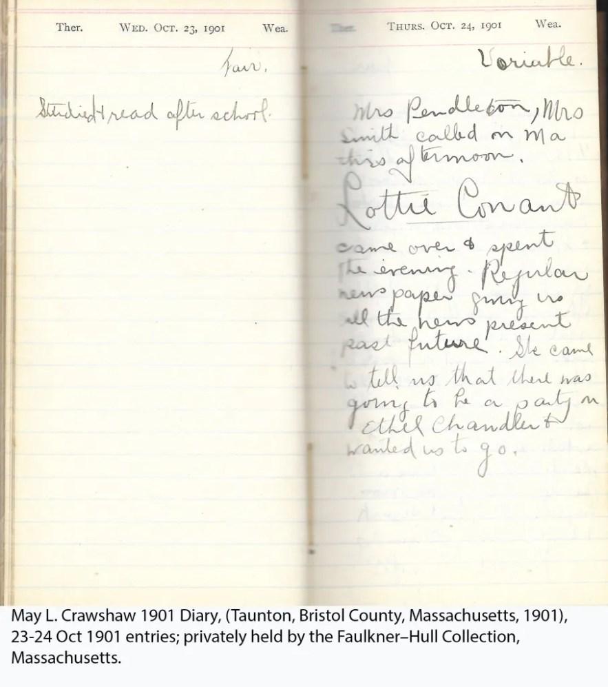 May L. Crawshaw 1901 Diary, Taunton, Bristol County, Massachusetts, 23-24 Oct 1901 entries