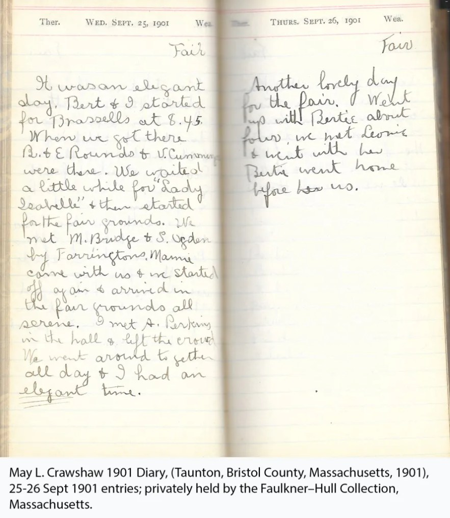 May L. Crawshaw 1901 Diary, Taunton, Bristol County, Massachusetts, 25-26 Sept 1901 entries