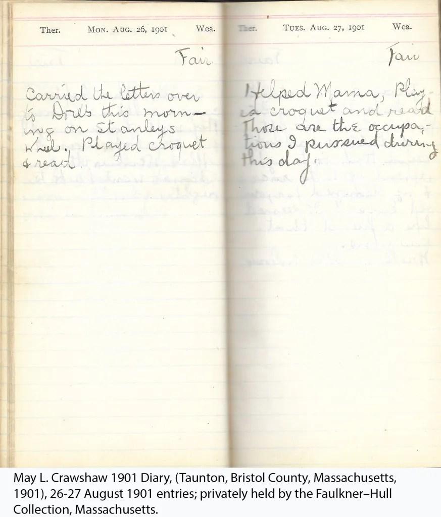 May L. Crawshaw 1901 Diary, Taunton, Bristol County, Massachusetts, 26-27 Aug 1901 entries