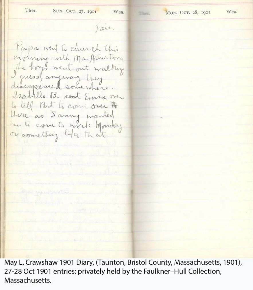 May L. Crawshaw 1901 Diary, Taunton, Bristol County, Massachusetts, 27-28 Oct 1901 entries