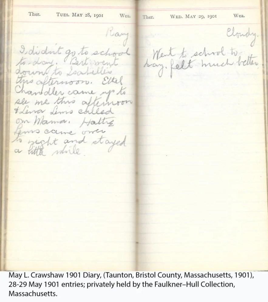 May L. Crawshaw 1901 Diary, Taunton, Bristol County, Massachusetts, 28-29 May 1901 entries
