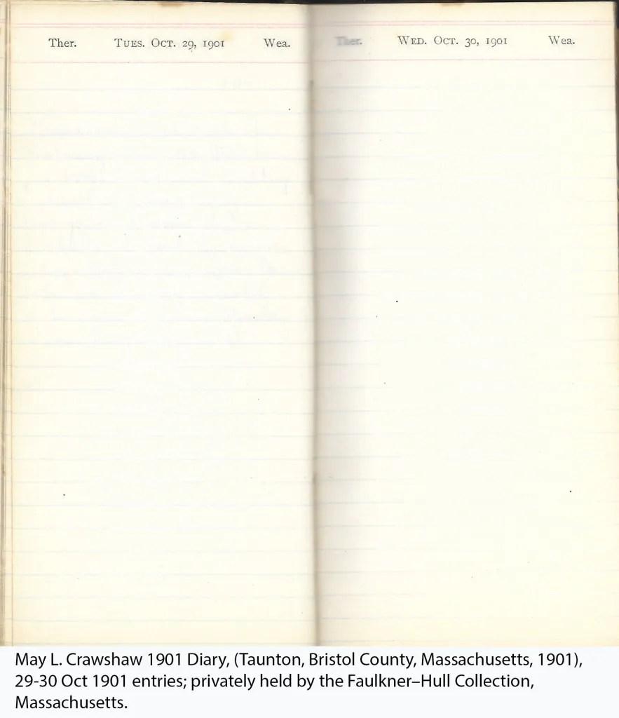 May L. Crawshaw 1901 Diary, Taunton, Bristol County, Massachusetts, 29-30 Oct 1901 entries