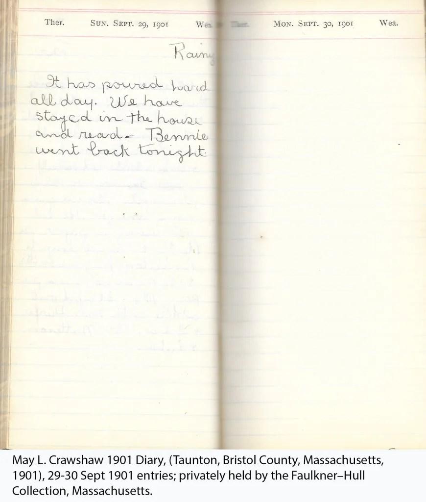 May L. Crawshaw 1901 Diary, Taunton, Bristol County, Massachusetts, 29-30 Sept 1901 entries