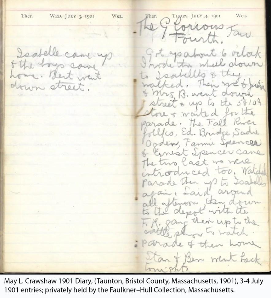 May L. Crawshaw 1901 Diary, Taunton, Bristol County, Massachusetts, 3-4 July 1901 entries