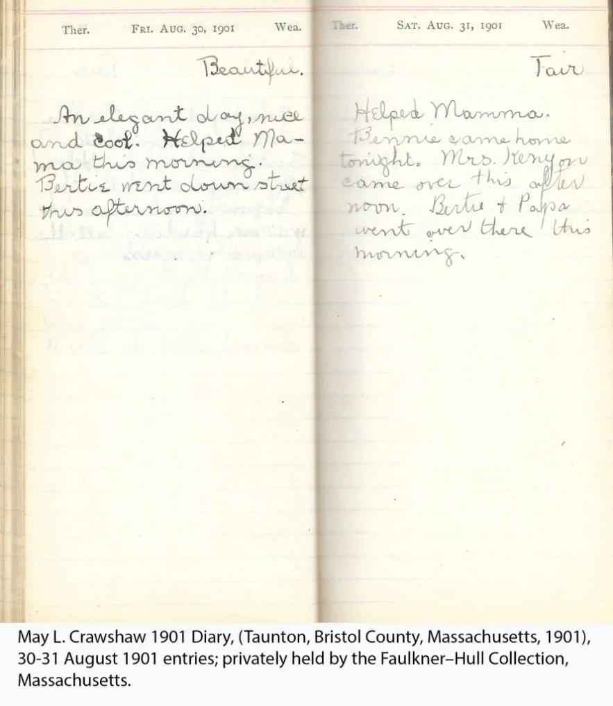 May L. Crawshaw 1901 Diary, Taunton, Bristol County, Massachusetts, 30-31 Aug 1901 entries