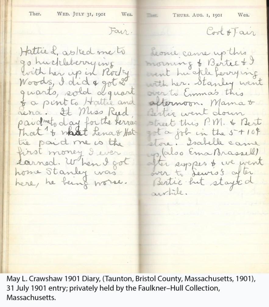 May L. Crawshaw 1901 Diary, Taunton, Bristol County, Massachusetts, 31 July 1901 entry