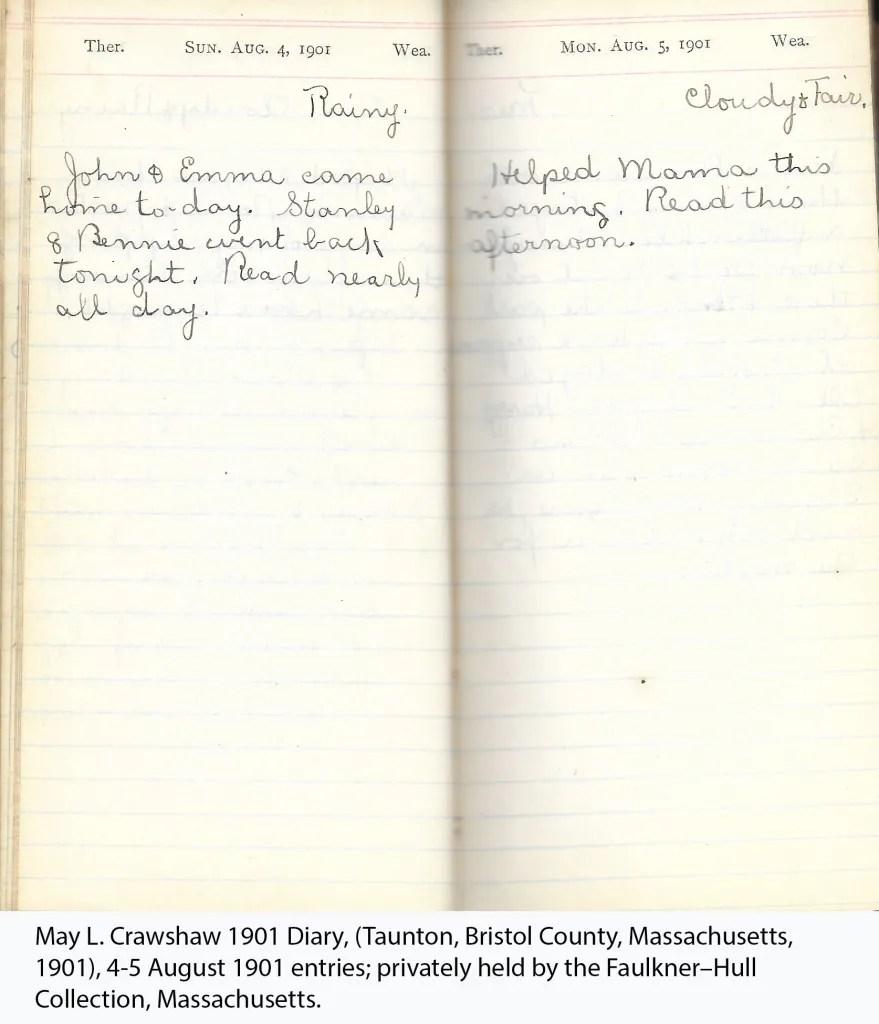 May L. Crawshaw 1901 Diary, Taunton, Bristol County, Massachusetts, 4-5 Aug 1901 entries
