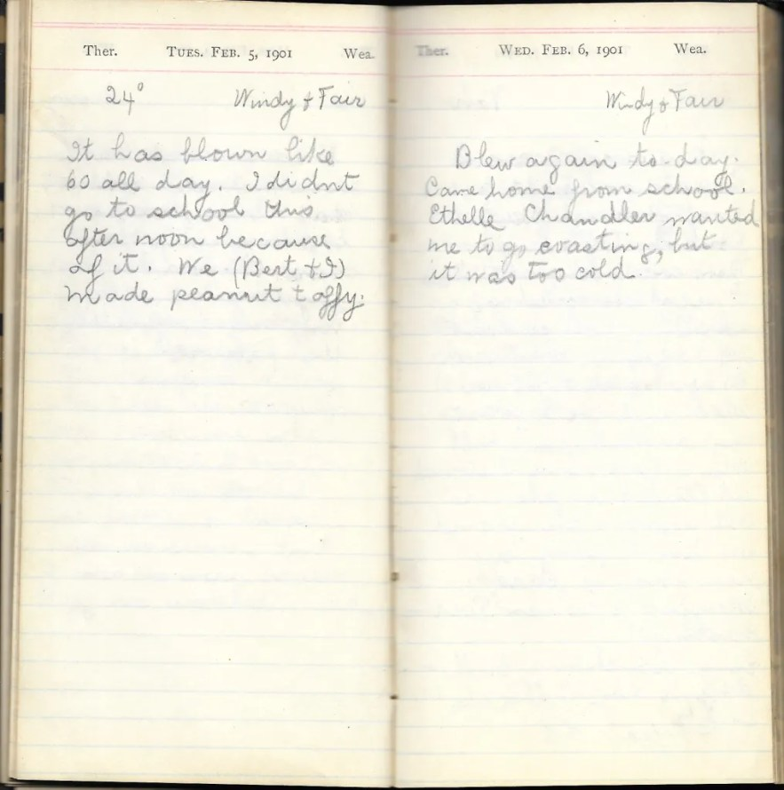 May L. Crawshaw 1901 Diary, Taunton, Bristol County, Massachusetts, 5-6 Feb 1901 entries