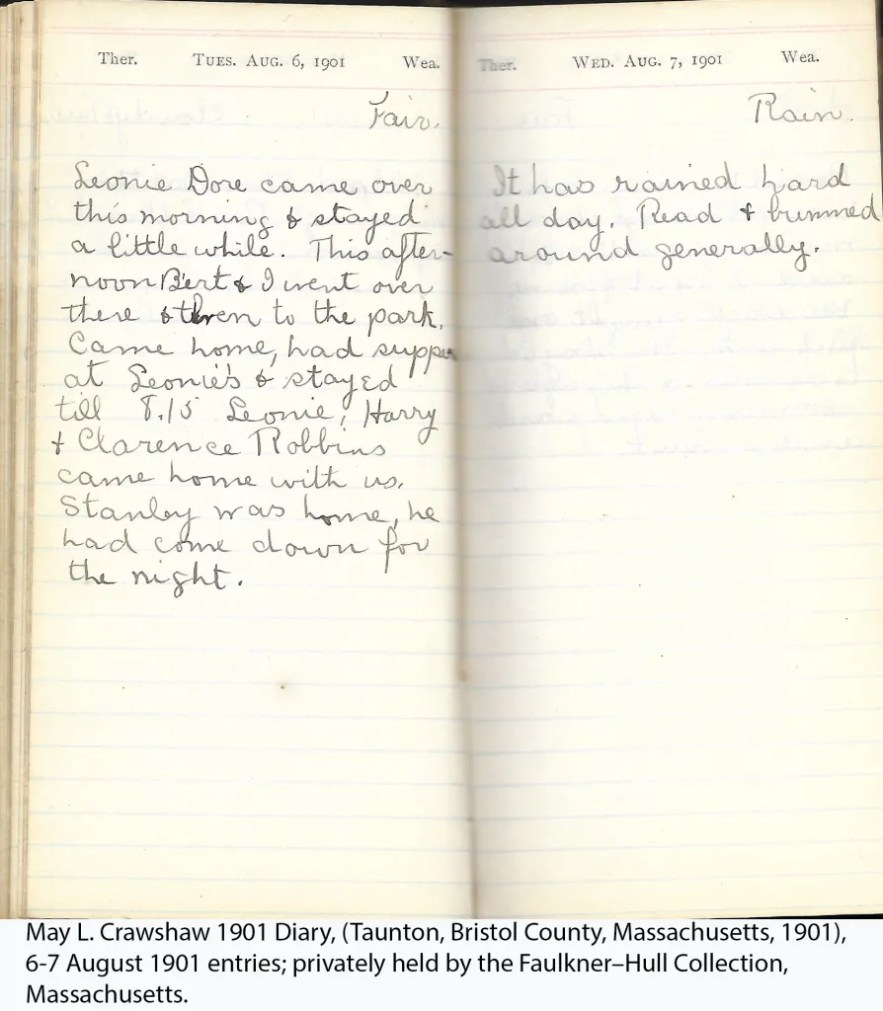 May L. Crawshaw 1901 Diary, Taunton, Bristol County, Massachusetts, 6-7 Aug 1901 entries