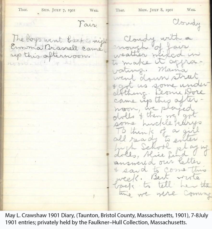 May L. Crawshaw 1901 Diary, Taunton, Bristol County, Massachusetts, 7-8 July 1901 entries