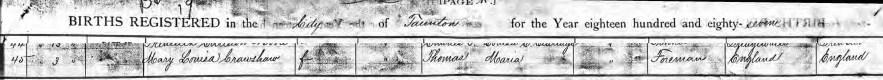 Maye's birth, Taunton, Bristol County, Massachusetts, Birth Records 1887, no. 45, Mary Louisa Crawshaw