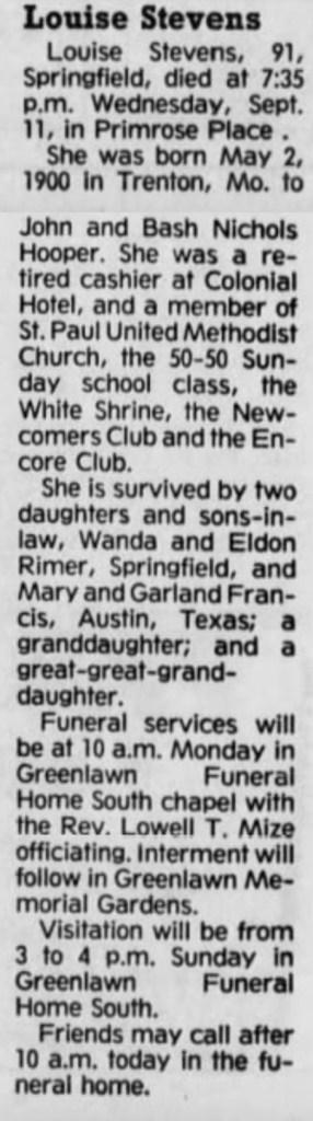 """Louise Stevens,"" obituary, Springfield News-Leader (Springfield, Missouri), 14 Sept 1991, p. 8, col. 6."