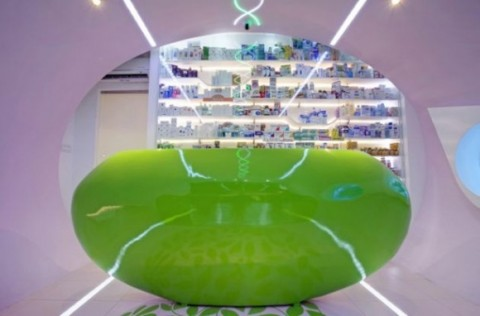Futuristic Welcoming Pharmacy Designs with Simple Green Interior1