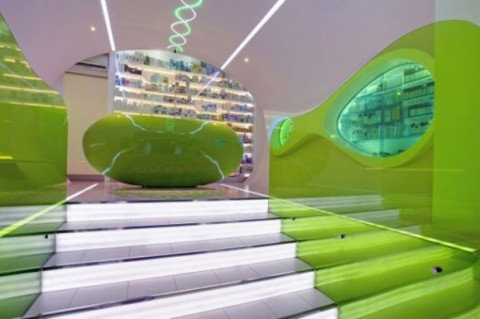 Futuristic Welcoming Pharmacy Designs with Simple Green Interior3