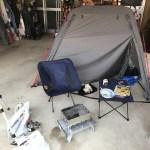 バイクソロキャン、予行練習はあり?無し?車庫でテント張って一泊