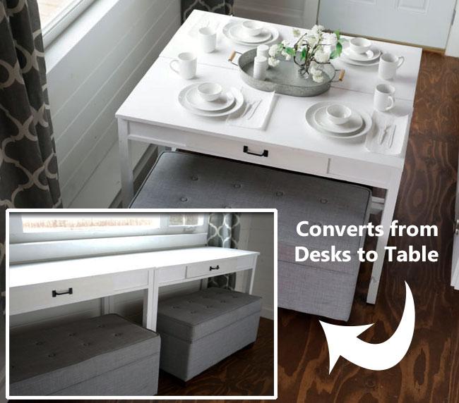 Diy Convertible Desk Space Saving Idea