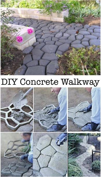 Great Looking Diy Concrete Walkway