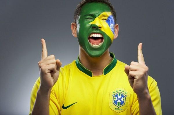 Brazilian soccer fan with face paint