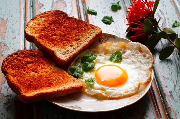a fried egg with bread