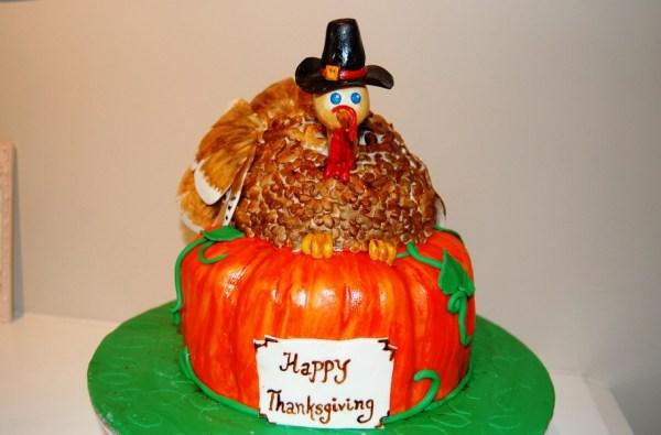Cake for dessert on Thanksgiving