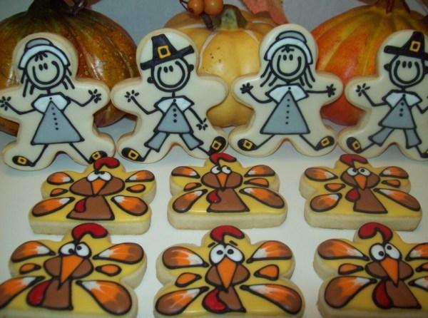 pilgrims, scared turkeys