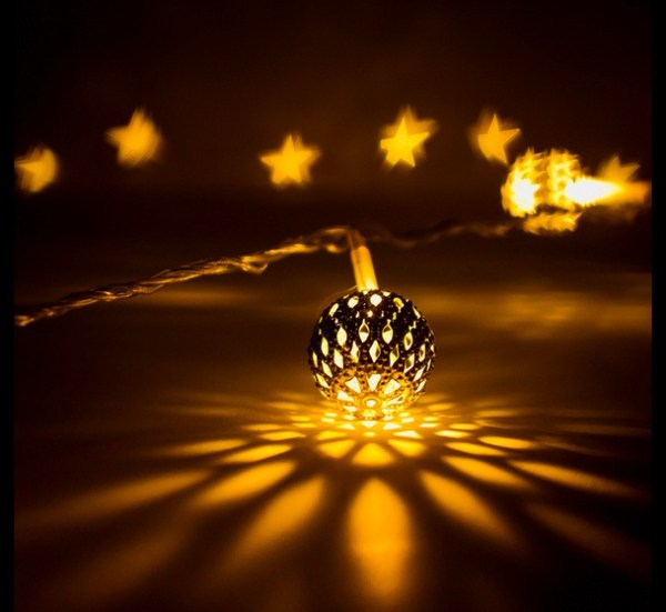 Christmas lights and star shaped bokeh