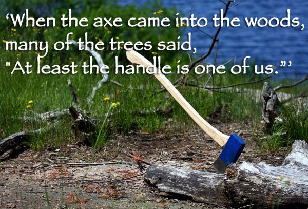 When the axe came into the woods, many of the trees said, At least the handle is one of us