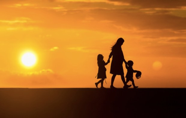 A beautiful Mother and kids Silhouette