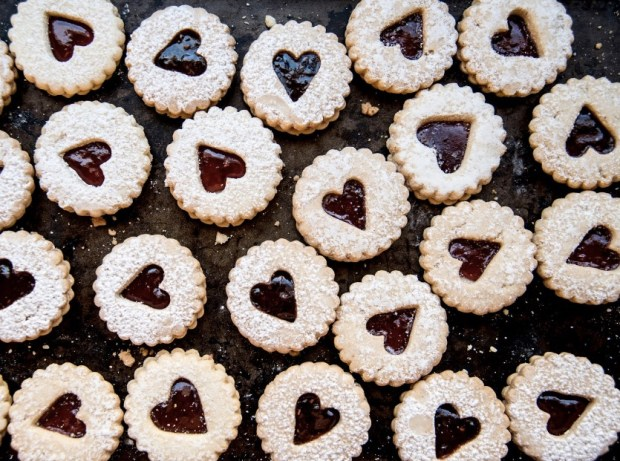Close up of cookies with heart-shaped cutout