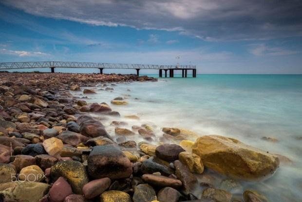 Pier in the pebbles beach