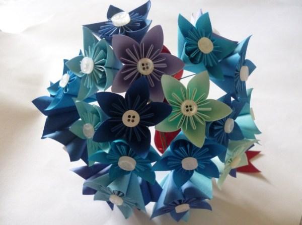 Blue kusudama flower bouquet