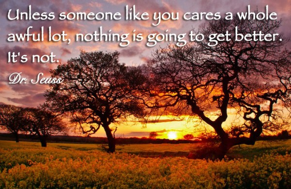 Unless someone like you cares a whole awful lot, nothing is going to get better. It's not