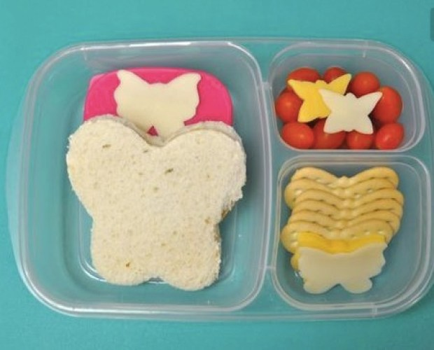 cheese and butterfly crackers with sandwich and tomatoes, and fruit leather
