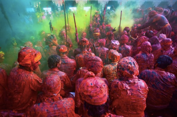 Holi, Hindu Festival of Colors, Nandgaon, India